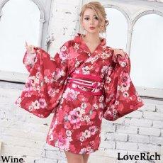 画像6: サテン花柄花魁ミニ着物ドレス 和柄 よさこい 花魁 コスプレ キャバドレス (6)