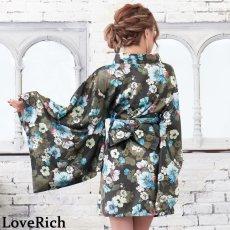 画像16: サテン花柄花魁ミニ着物ドレス 和柄 よさこい 花魁 コスプレ キャバドレス (16)