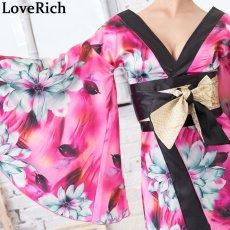 画像15: サテン花柄ロング着物ドレス 衣装 ダンス よさこい 花魁 コスプレ キャバドレス (15)