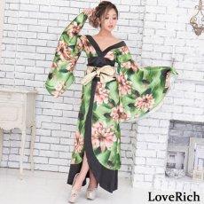 画像9: サテン花柄ロング着物ドレス 衣装 ダンス よさこい 花魁 コスプレ キャバドレス (9)
