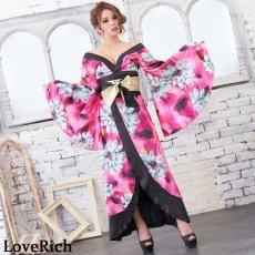 画像7: サテン花柄ロング着物ドレス 衣装 ダンス よさこい 花魁 コスプレ キャバドレス (7)
