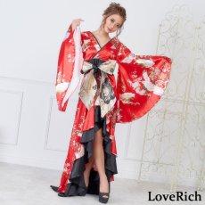 画像1: 【再入荷】サテン和柄フリルロング着物ドレス 衣装 ダンス よさこい 花魁 コスプレ キャバドレス (1)