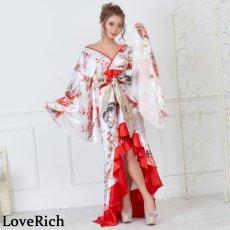 画像2: 【再入荷】サテン和柄フリルロング着物ドレス 衣装 ダンス よさこい 花魁 コスプレ キャバドレス (2)