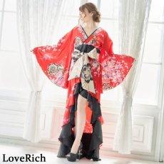 画像6: 【新色追加&再入荷】サテン和柄フリルロング着物ドレス 衣装 ダンス よさこい 花魁 コスプレ キャバドレス (6)