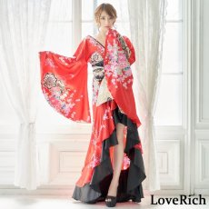 画像7: 【新色追加&再入荷】サテン和柄フリルロング着物ドレス 衣装 ダンス よさこい 花魁 コスプレ キャバドレス (7)