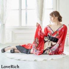 画像5: 【新色追加&再入荷】サテン和柄フリルロング着物ドレス 衣装 ダンス よさこい 花魁 コスプレ キャバドレス (5)