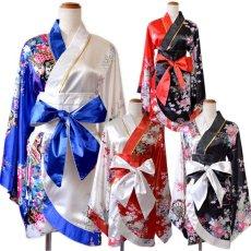 画像14: ツートンカラー 和柄 花魁 着物 ドレス ダンス よさこい 花魁 コスプレ キャバドレス (14)