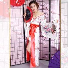 画像8: 【新色追加&再入荷】サテン花車リボンロング着物ドレス コスチューム コスプレキャバドレス 花魁 (8)