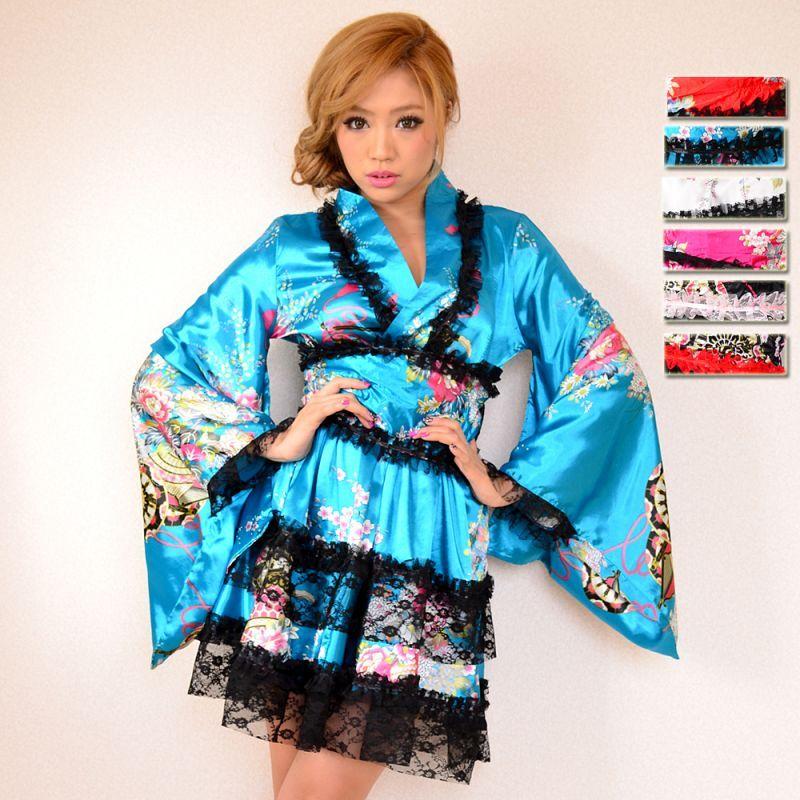 画像1: レースフリルリボン付きサテン花魁着物ドレス キャバドレス コスチューム (1)