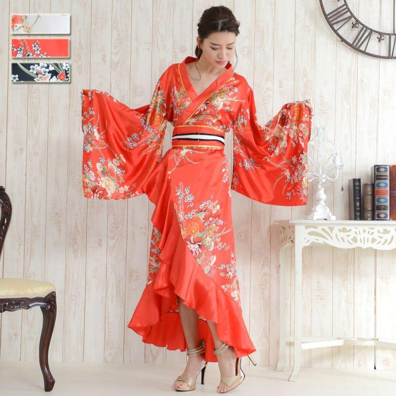 画像1: 帯付き花魁着物ロングドレス (1)