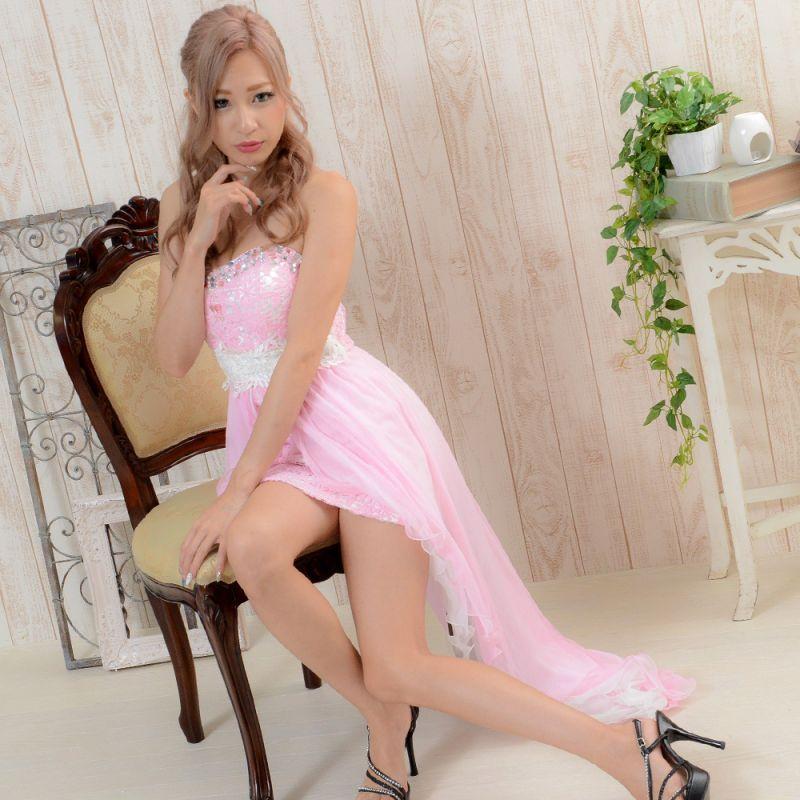 画像1: 【2000円ぽっきりドレス】セクシーベア&花柄レースロングドレス キャバドレス パーティードレス (1)