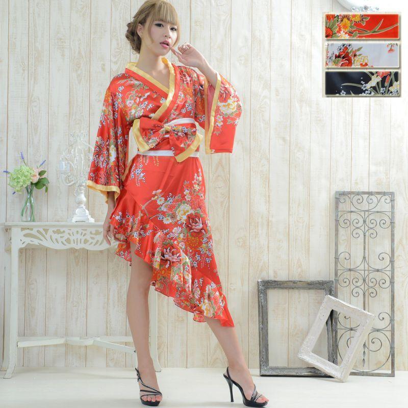 画像1: 帯付きななめカットフリル花魁着物ロングドレス コスチューム コスプレ キャバドレス (1)