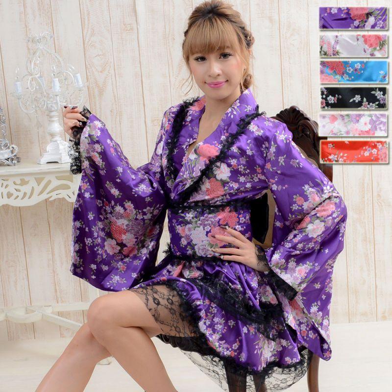 画像1: レースフリルリボン付きサテン花魁着物ドレス キャバドレス (1)