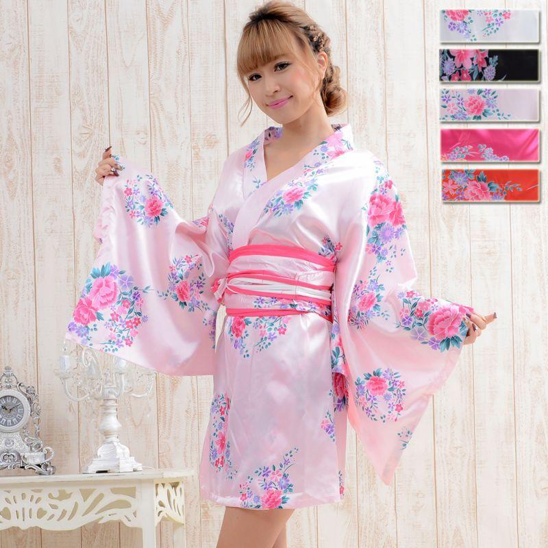 画像1: 【SALE20%OFF】サテン和柄花魁ミニ着物ドレス 和柄 衣装 コスプレ キャバドレス (1)