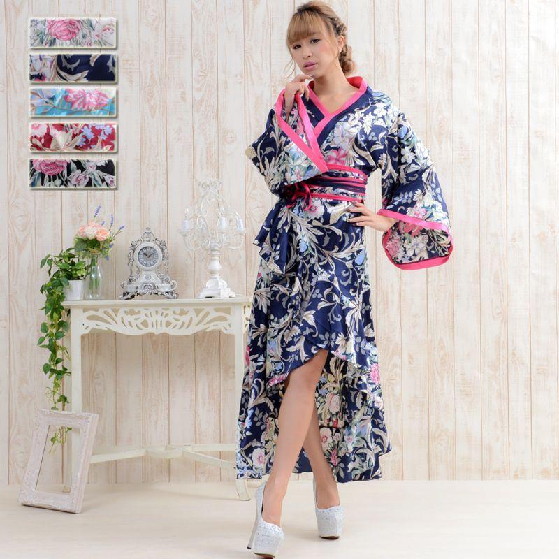 画像1: サテン和柄ロング着物ドレス キャバドレス 花魁 コスプレ (1)