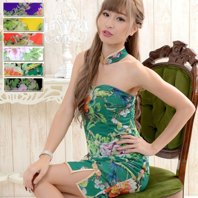 画像1: 【SALE15%OFF】フラワーパワーネットミニチャイナドレス キャバドレス パーティードレス 衣装 コスプレ (1)