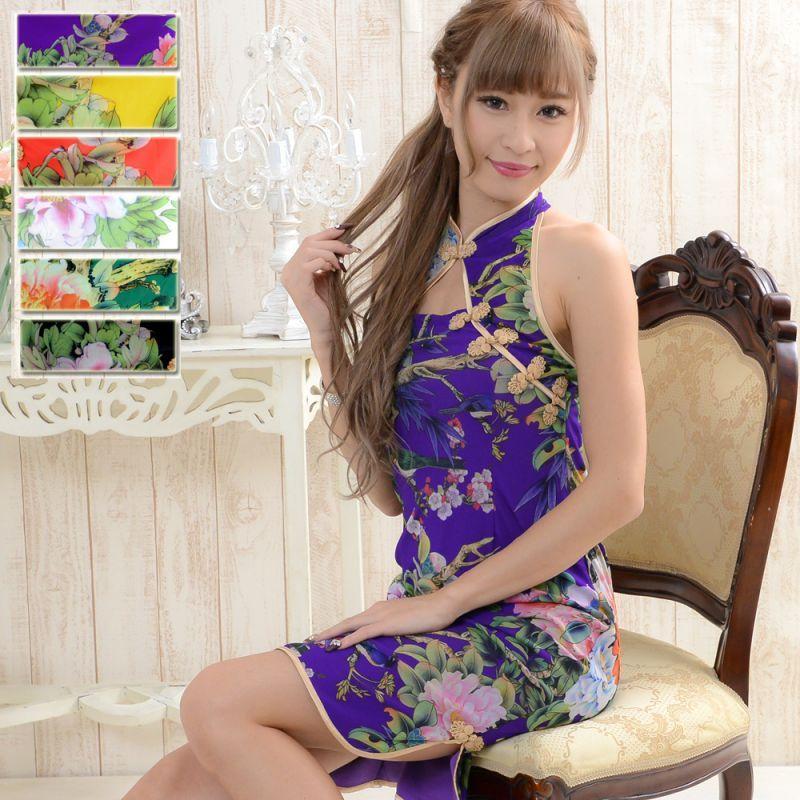 画像1: 【SALE15%OFF】フラワーパワーネットミニチャイナドレス 衣装 コスプレ キャバドレス ハロウィン (1)