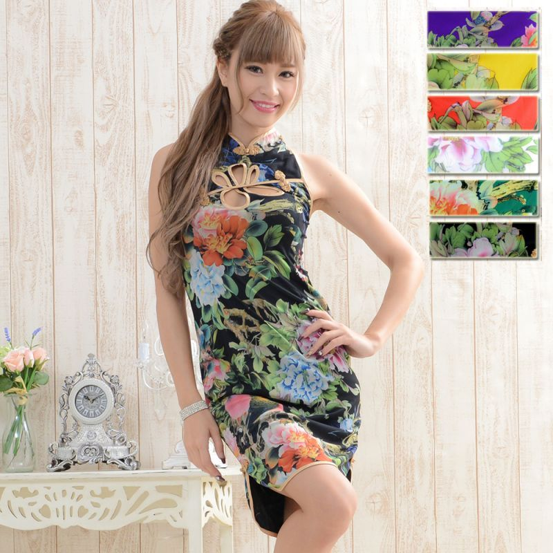 画像1: 【SALE15%OFF】フラワーパワーネットミニチャイナドレス 衣装 コスプレ コスチューム キャバドレス ハロウィン (1)