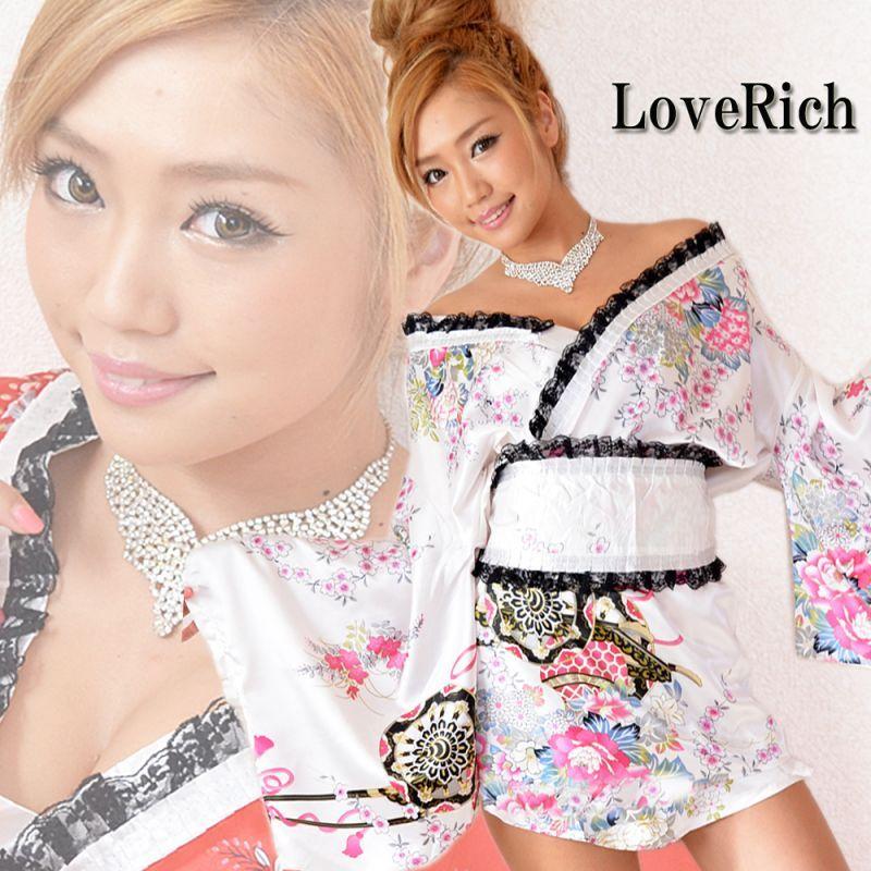 画像1: レースリボンサテン和柄ミニ花魁着物ドレス コスチューム コスプレ キャバドレス (1)