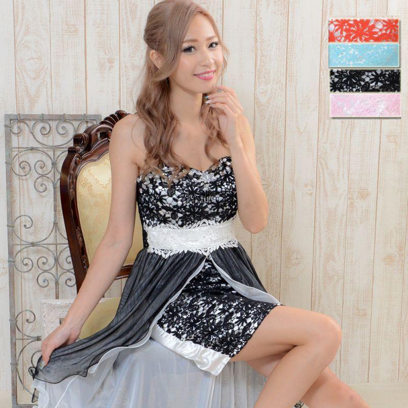 画像1: 【SALE30%OFF】セクシーベア&花柄レースロングドレス キャバドレス パーティードレス (1)