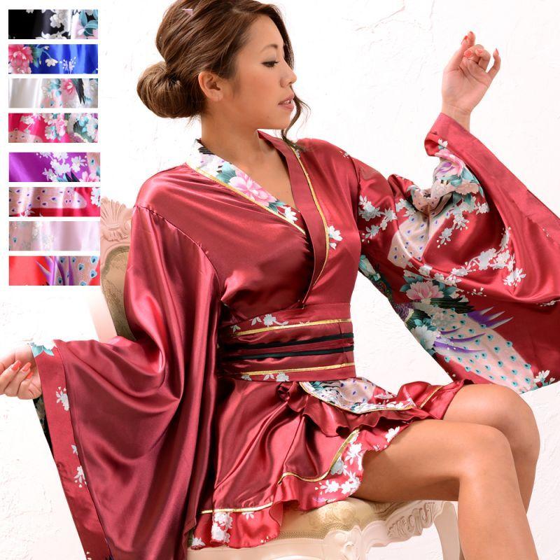 画像1: 孔雀柄ミニ着物ドレス 和柄 よさこい 花魁 コスプレ キャバドレス (1)