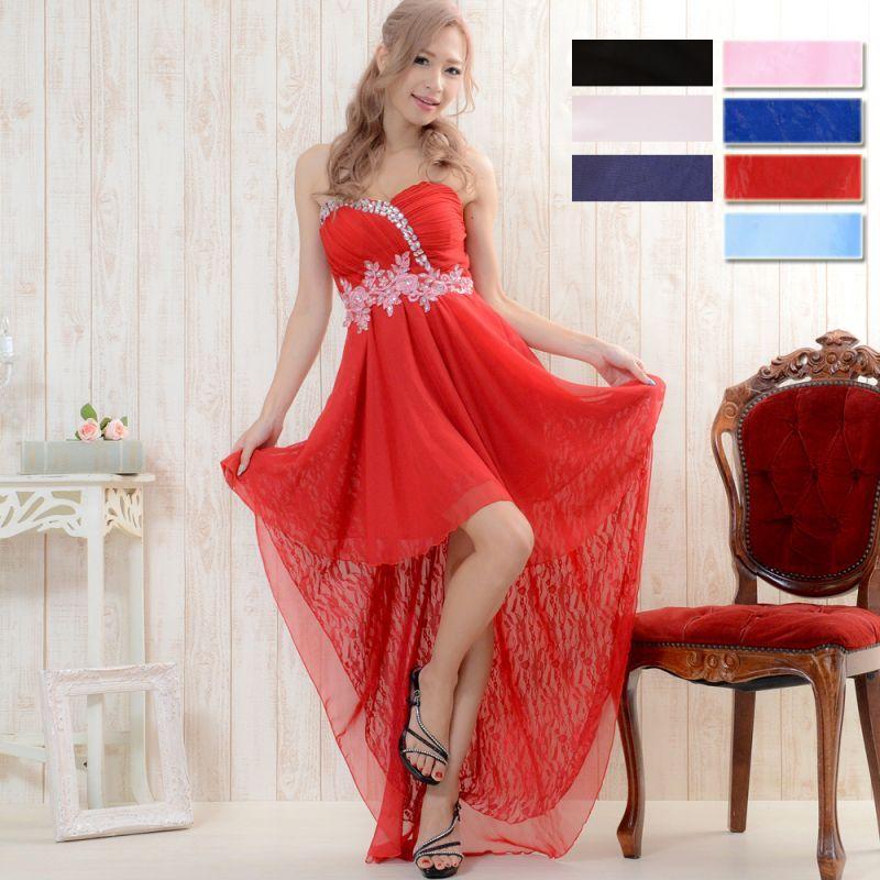 画像1: 【再入荷・新色追加】フラワー刺繍ビジュー装飾シフォン&レーステールカットロングドレス キャバドレス パーティードレス (1)