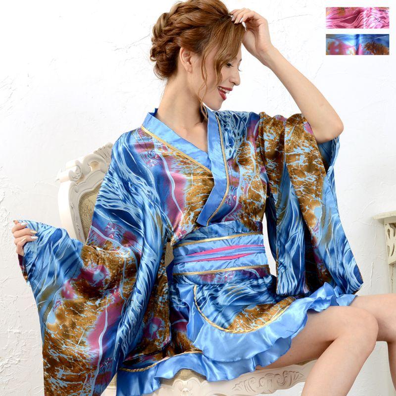 画像1: ゴールドパイピングフリルミニ着物ドレス 和柄 花魁 キャバドレス (1)