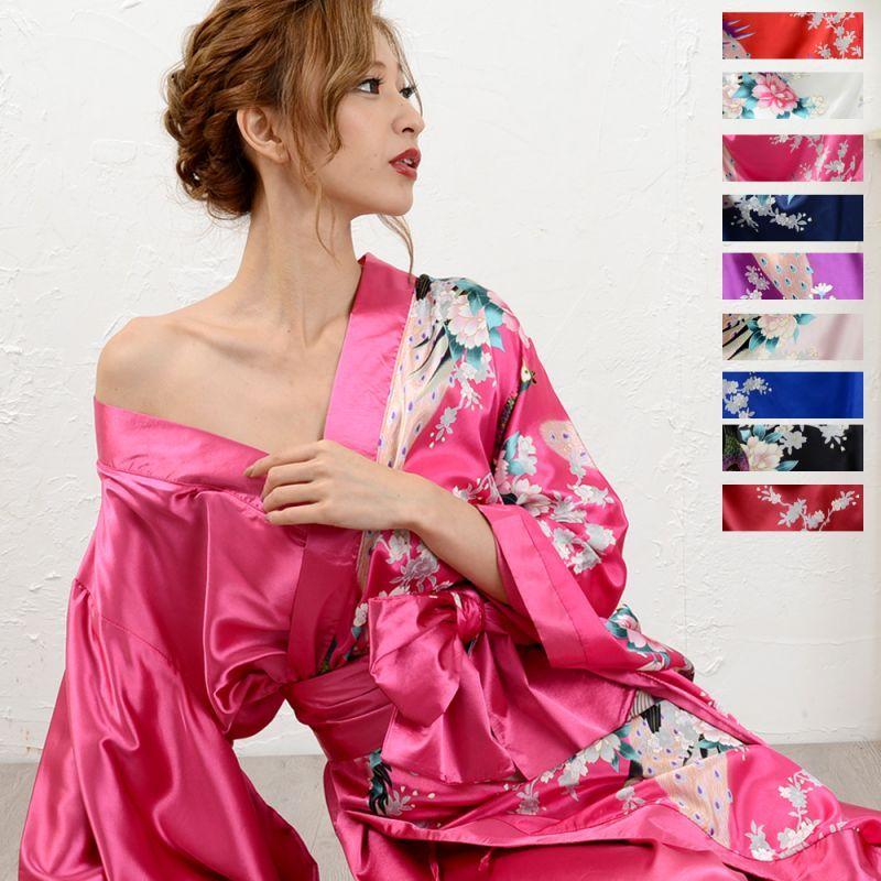 画像1: 和柄ロング着物ドレス 和柄 衣装 ダンス よさこい 花魁 コスプレ キャバドレス (1)