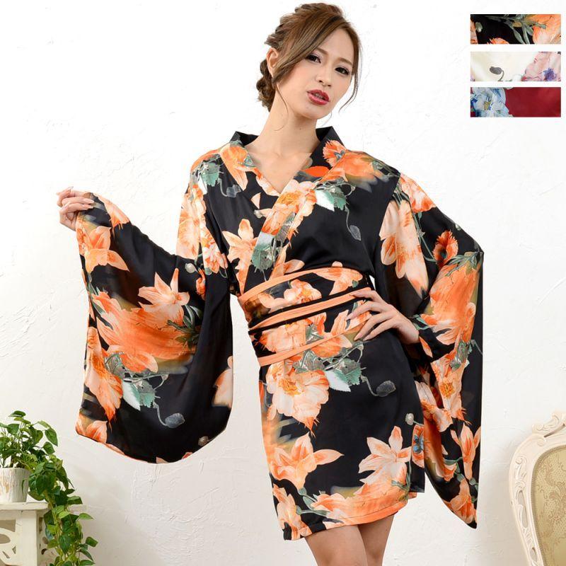画像1: フラワープリント花魁着物ドレス 和柄 衣装 ダンス よさこい 花魁 コスプレ キャバドレス (1)