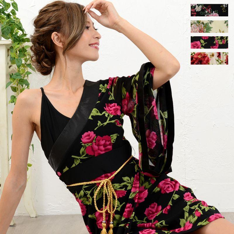 画像1: 【SALE30%OFF】セクシーワンショル花魁着物ドレス 和柄 衣装 ダンス よさこい 花魁 コスプレ キャバドレス (1)