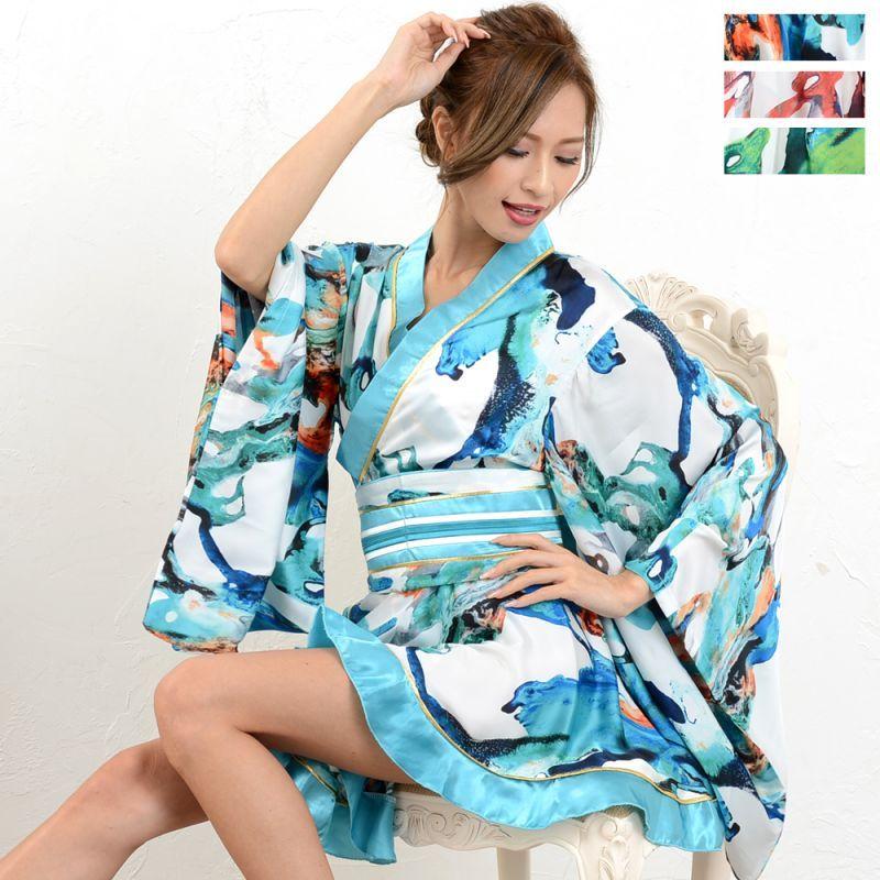 画像1: 【SALE25%OFF】花魁着物ドレス 和柄 衣装 ダンス よさこい 花魁 コスプレ キャバドレス (1)