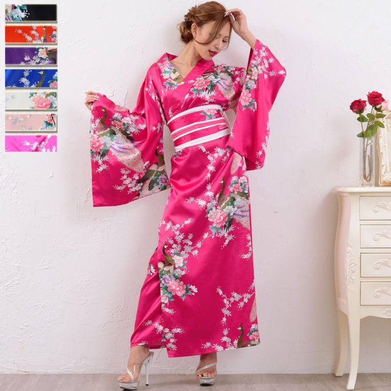 画像1: 孔雀サテン和柄ロング着物ドレス コスチューム コスプレ キャバドレス 花魁 (1)