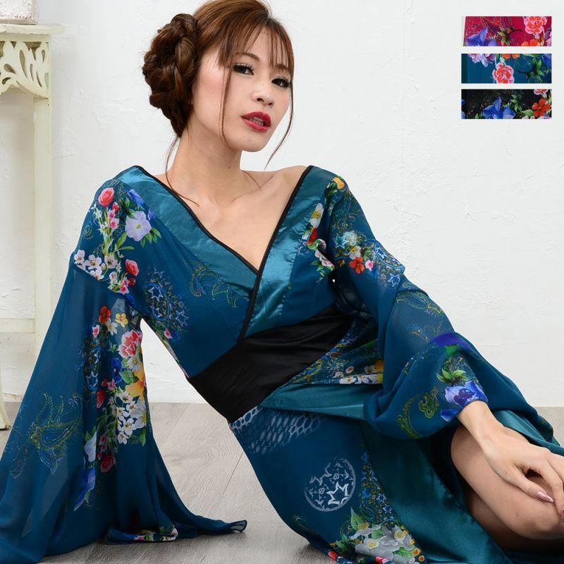 画像1: フラワーロング着物ドレス 和柄 衣装 ダンス よさこい 花魁 コスプレ キャバドレス (1)