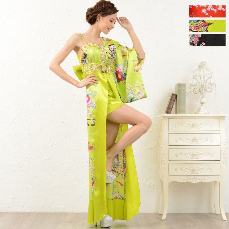 画像1: 豪華ビジューサテン和柄ワンショルロング着物ドレス和柄 花魁 コスプレ キャバドレス (1)