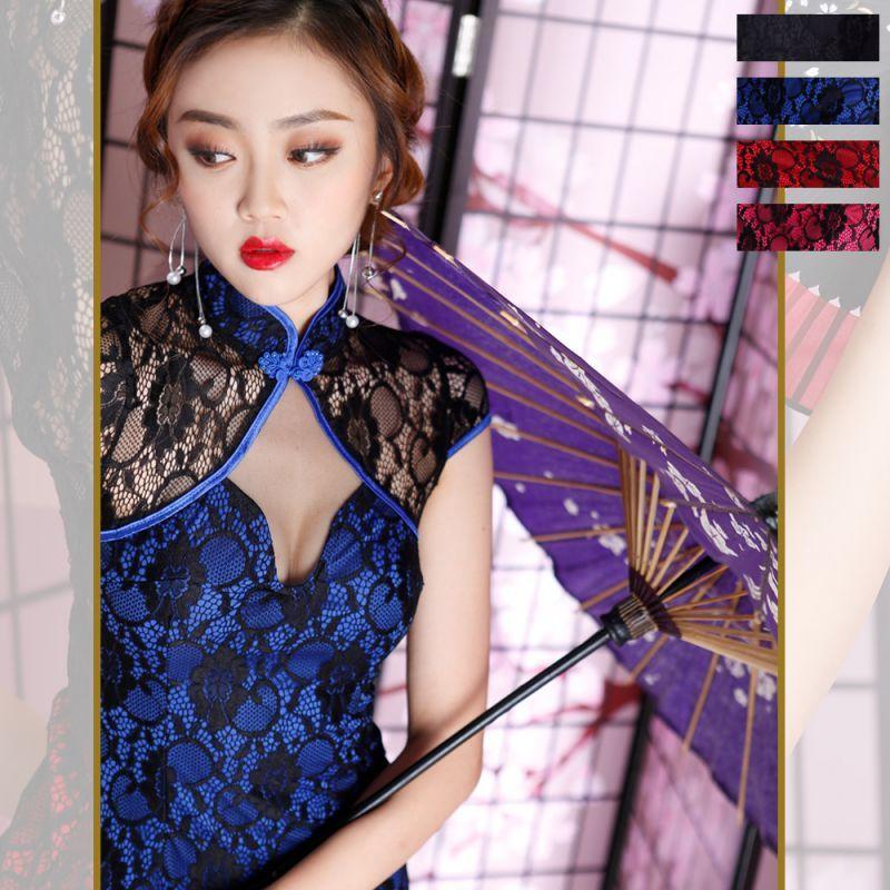 画像1: レース配色セクシーミニチャイナドレス 衣装 コスプレ キャバドレス ハロウィン (1)