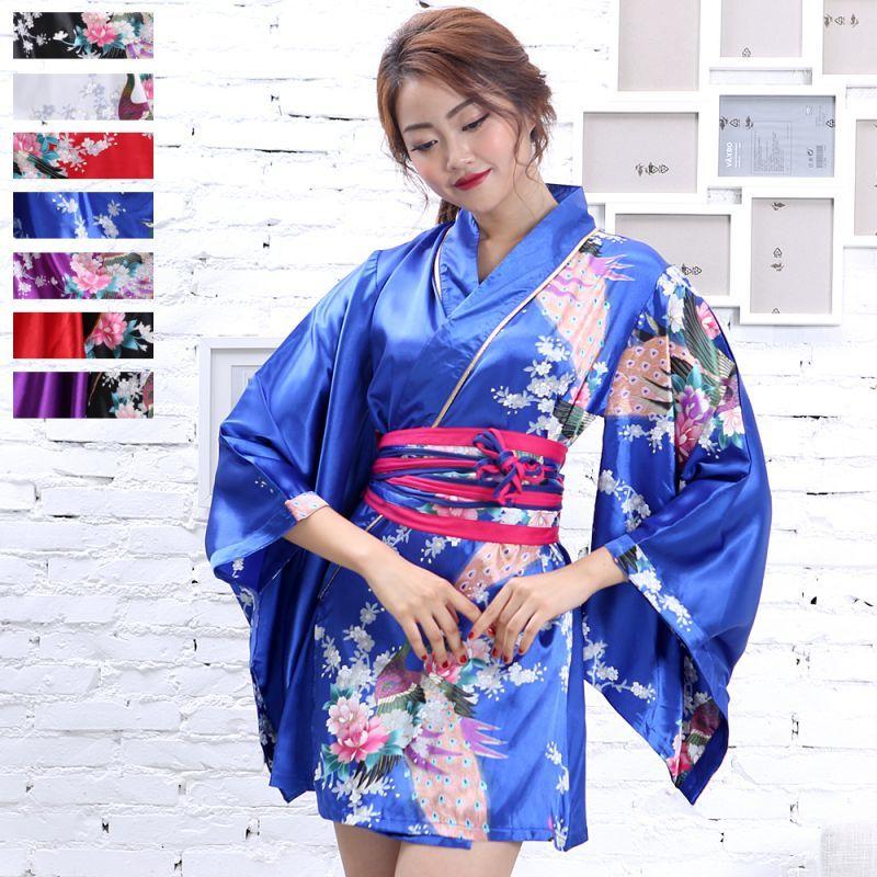 画像1: サテン和柄花魁ミニ着物ドレス キャバドレス (1)