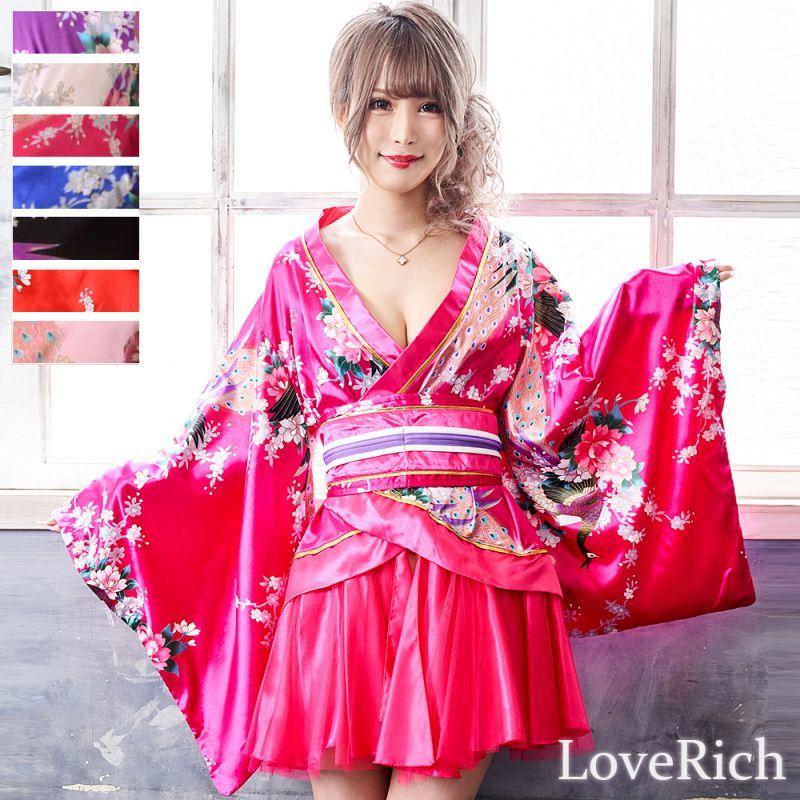 画像1: サテン和柄豪華花魁ミニ着物ドレス 和柄 よさこい 花魁 コスプレ キャバドレス (1)