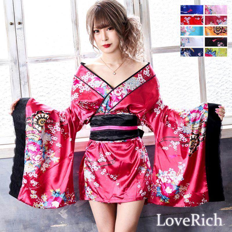 画像1: 和柄ミニ着物ドレス 和柄 衣装 ダンス よさこい 花魁 コスプレ キャバドレス (1)