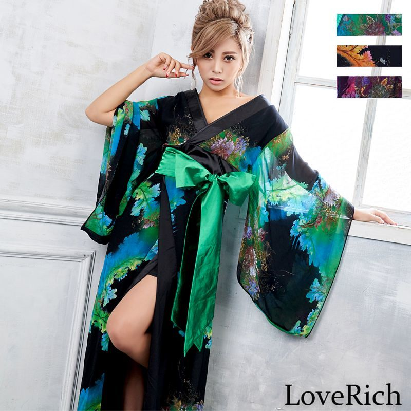 画像1: フラワープリントリボン付きロング着物ドレス 和柄 よさこい 花魁 コスプレ キャバドレス (1)