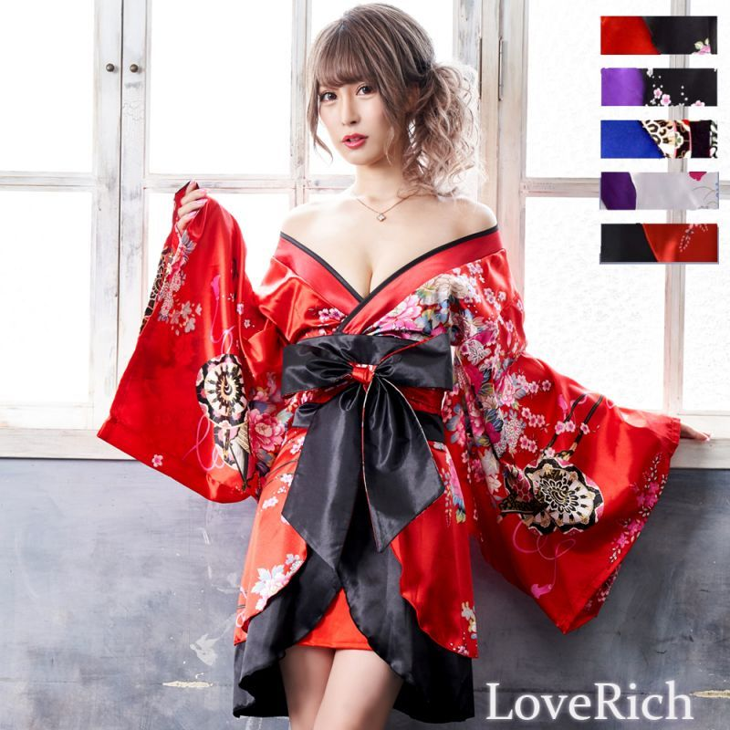 画像1: 孔雀和柄着物ドレス 和柄 衣装 ダンス よさこい 花魁 コスプレ キャバドレス (1)