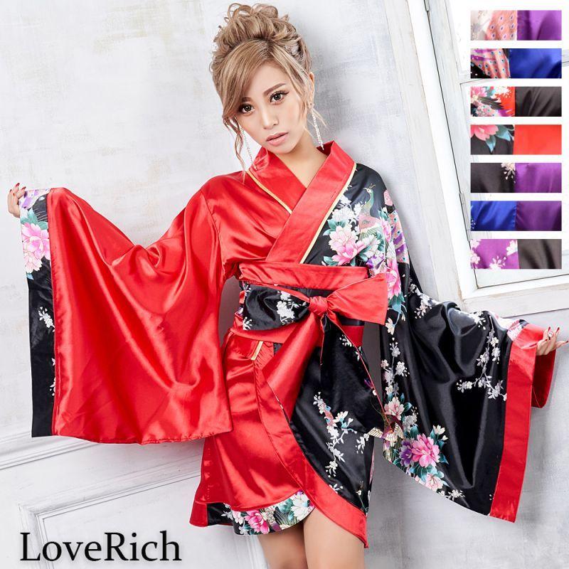 画像1: ツートンカラー孔雀和柄着物ドレス 和柄 衣装 ダンス よさこい 花魁 コスプレ キャバドレス (1)