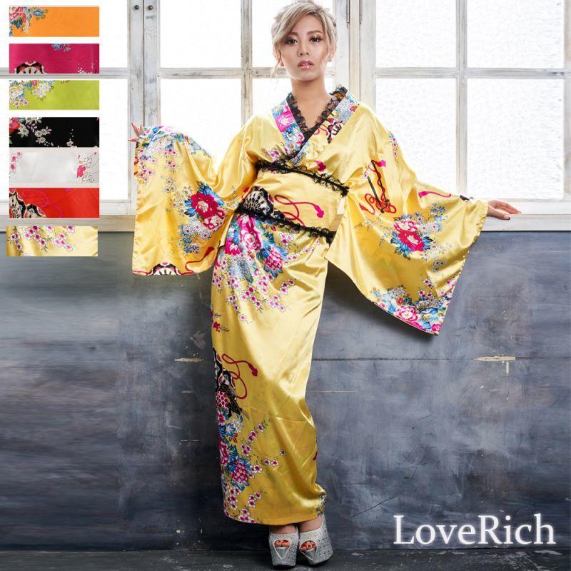 画像1: 【新色追加】レースフリルリボン付きサテン花魁着物ドレス コスチューム コスプレ キャバドレス (1)