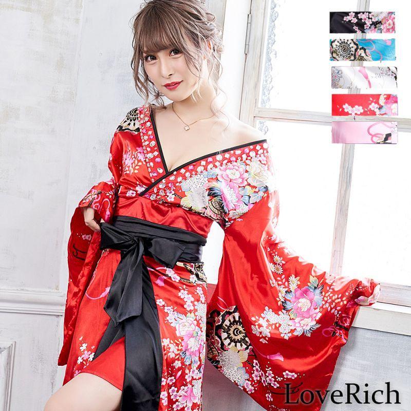 画像1: 【新色追加&再入荷】サテン花車リボンロング着物ドレス コスチューム コスプレキャバドレス 花魁 (1)