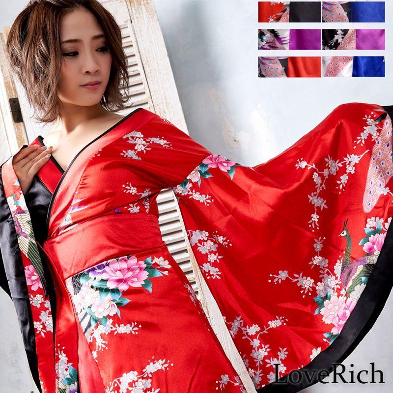 画像1: ツートンカラー孔雀和柄ロング着物ドレス よさこい 花魁 コスプレ キャバドレス (1)
