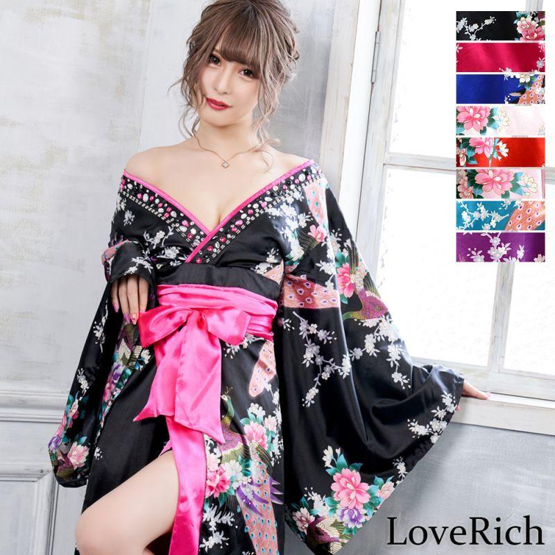 画像1: 豪華ビジュー花魁ロング着物ドレス 和柄 衣装 ダンス よさこい 花魁 コスプレ キャバドレス (1)