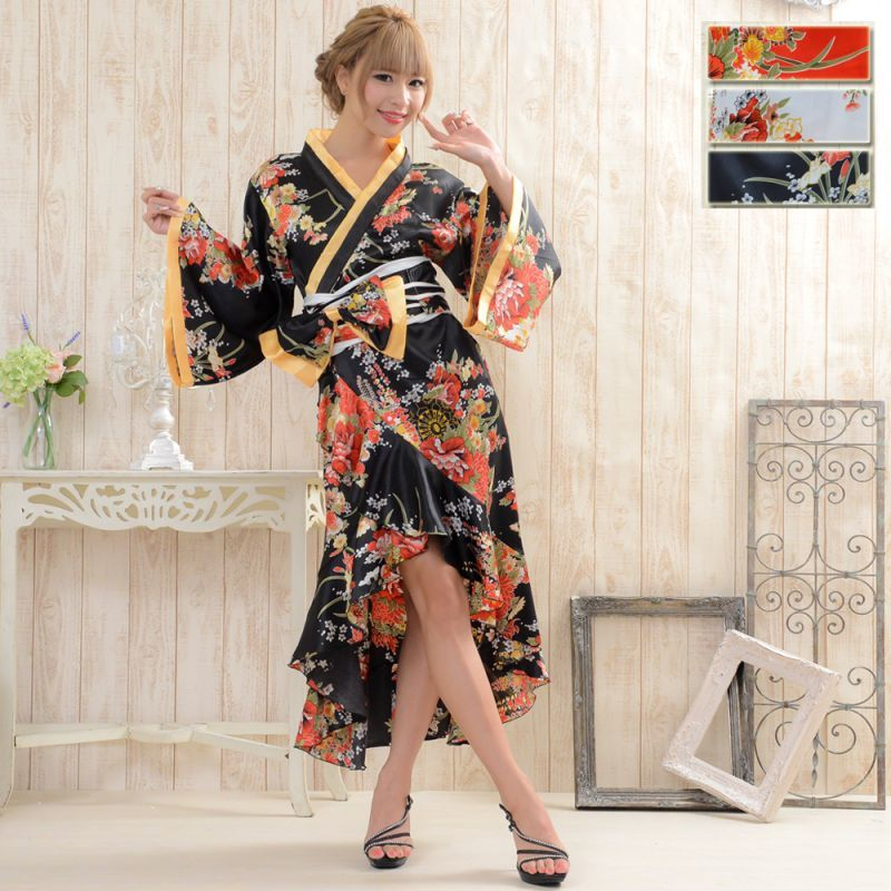画像1: 花魁風帯付き総和柄サテン裾フリルロングドレス (1)