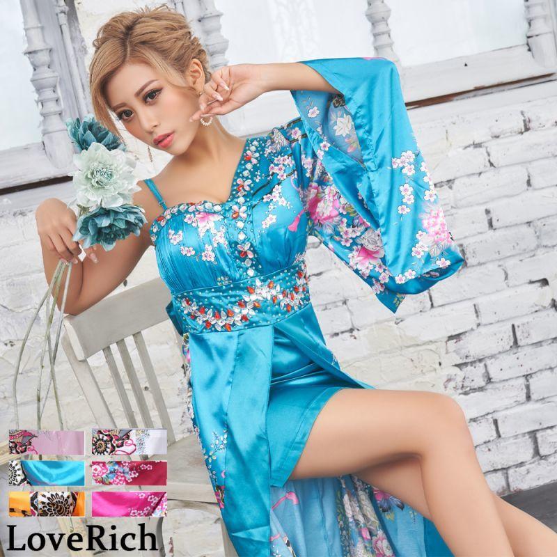 画像1: 豪華ビジューサテン和柄ワンショルロング着物ドレス 花魁 キャバドレス (1)