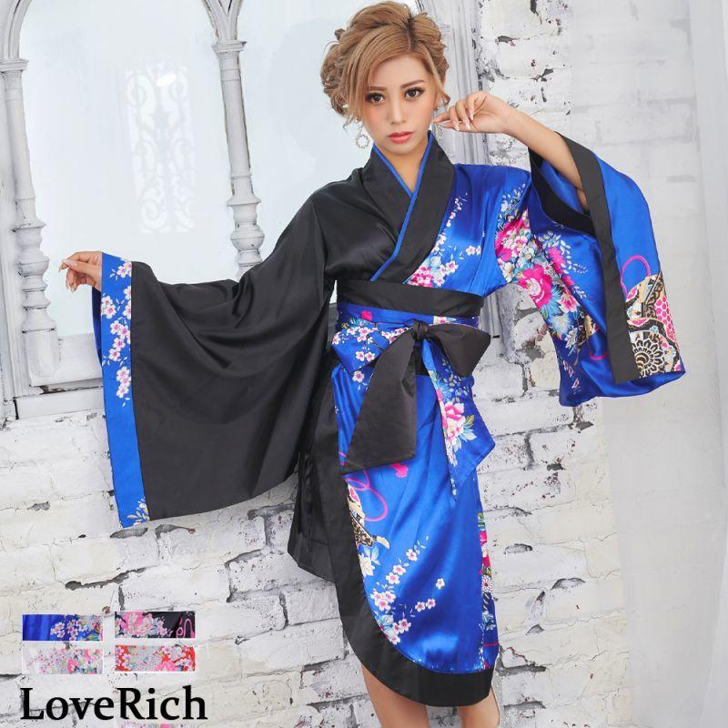 画像1: ツートンカラー孔雀柄着物ドレス 和柄 衣装 ダンス よさこい 花魁 コスプレ キャバドレス (1)