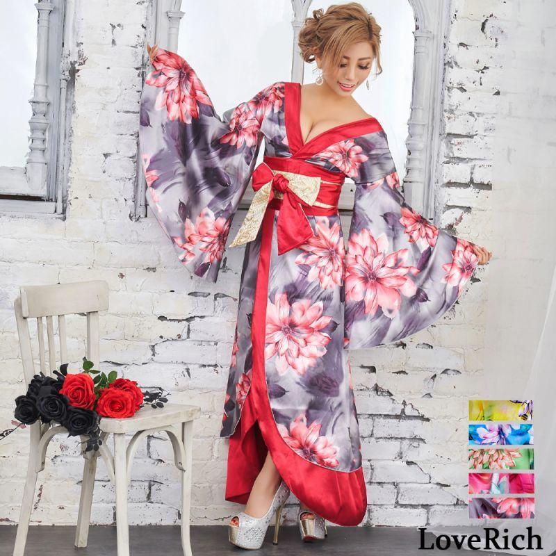 画像1: サテン花柄ロング着物ドレス 衣装 ダンス よさこい 花魁 コスプレ キャバドレス (1)