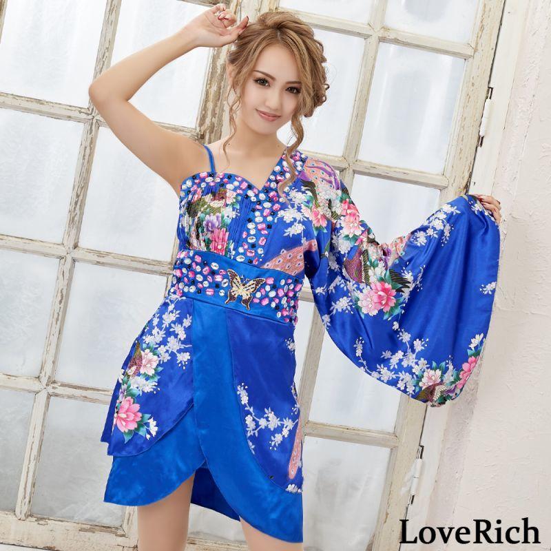 画像1: バタフライブローチ付きワンショルミニ花魁着物ドレス コスチューム キャバドレス (1)